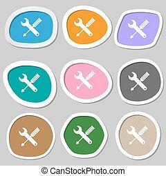 reparera, verktyg, underteckna, icon., service, symbol., skruvmejsel, med, wrench., flerfärgad, papper, stickers., vektor