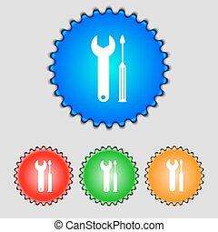 reparera, verktyg, underteckna, icon., service, symbol., skruvmejsel, med, wrench., sätta, av, färgad, buttons., vektor