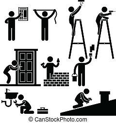 reparere, fastlægge, symbol, handyman