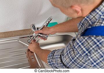 repareren, installatiebedrijf, keuken, kraan, zinken