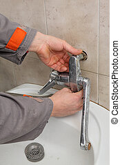 repareren, installatiebedrijf, kraan, badkamer