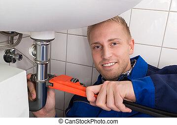 repareren, installatiebedrijf, mannelijke , zinken, keuken