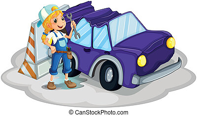repareren, meisje, viooltje, auto, kapot