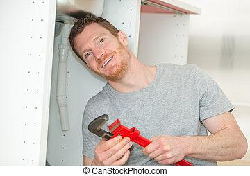 repareren, moersleutel, installatiebedrijf, zinken, verstelbaar, pijp, keuken, mannelijke