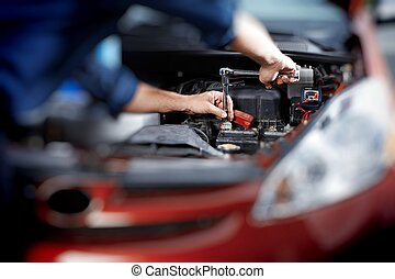reparieren garage, mechaniker, arbeitende , auto