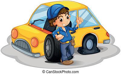 reparieren, mann, mechaniker, gelbes auto