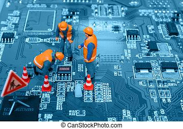 reparieren, span, miniatur, brett, stromkreis, fehler, ingenieure