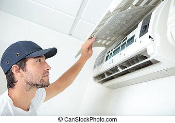 reparieren, und, beibehalten, klimaanlage, system