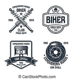 reparo carro, e, biker, clube, emblemas