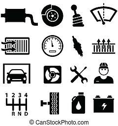 reparo carro, e, mecânico, ícones