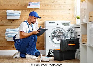 reparos, encanador, lavando, trabalhando, máquina, lavanderia, homem