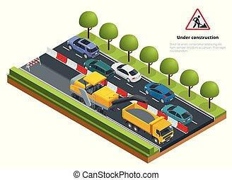 reparos, isometric, moendo, estrada asfalto, removendo, concept., camada, máquina, tráfego, gelado, estrada, road.