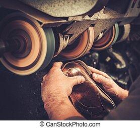 reparos, machine., moedor, sapatos, arte, estúdio, sapateiro