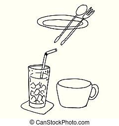 repas, ensemble, restaurant, nourriture, griffonnage, main, icône, dessiné