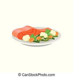 repas., plat, plaque., poisson sain, céramique, saumon, vecteur, savoureux, dîner., délicieux, plat, légumes frais, icône