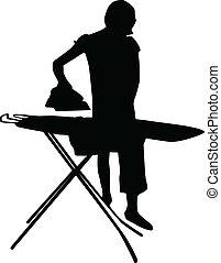 repassage, femme, vecteur, silhouette