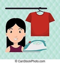 repassage, tshirt, femme, pendre, dessin animé
