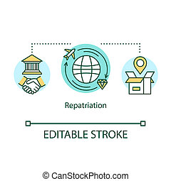 Repatriation concept icon. Return of cultural property to country of origin. Delivery of valuable goods around world idea thin line illustration. Vector isolated outline drawing. Editable stroke