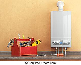 repearing, concepto,  gas, cocina, caldera, caja de herramientas, herramientas, o, mantenimiento