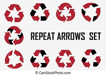 Repeat arrows set icons collection.