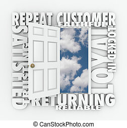 Repeat Loyal Satisfied Customer Open Door Reliable Client