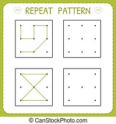 Repeat pattern. Educational games for practicing motor skills. Working pages for kids. Worksheet for kindergarten and preschool. Vector illustration
