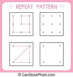 Repeat pattern. Kindergarten educational game for kids. Working page for children. Preschool worksheet for practicing motor skills. Vector illustration