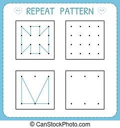 Repeat pattern. Working pages for children. Preschool worksheet for practicing motor skills. Kindergarten educational game for kids. Vector illustration