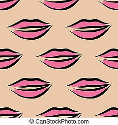 Repeat seamless pattern of sexy pink lips