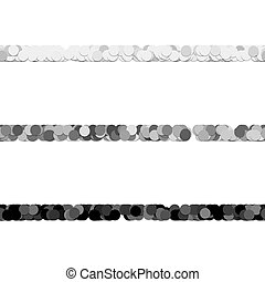 Repeatable abstract circle pattern text dividing line design set - vector graphic elements from dots