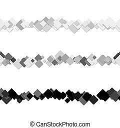 Repeatable abstract square pattern text rule line design set - vector design elements from diagonal rounded squares