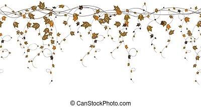 Repeatable autumn leaves branch vector border design