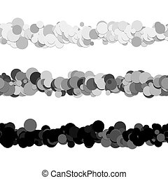Repeatable chaotic dot pattern page dividing line design set - vector graphic decoration elements from circles