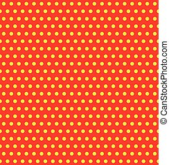 Repeatable duotone, yellow-red pop-art polka dot pattern.