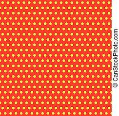 Repeatable duotone, yellow-red pop-art polka dot pattern.