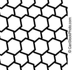 Repeatable seamless pattern with tilted, overlapping hexagons. Geometric monochrome textures