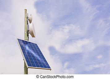 repeater, antena, painel solar