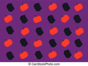 repeating cauldron of a witch and a pumpkin on a violet background