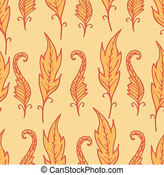 Repeating floral and feather pattern. Seamless texture with...