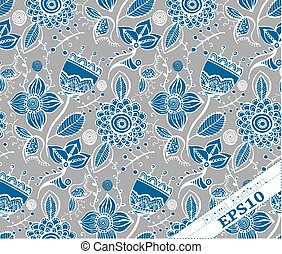 Repeating Floral Background Pattern. Grey and blue