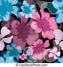 Repeating floral black pattern