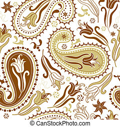 Repeating floral pattern - Repeating white and brown floral...