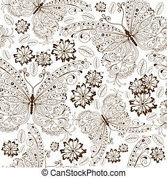 Repeating white floral pattern with vintage brown butterflies and flowers (vector)
