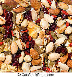 Repeating Fruit and Nut Background
