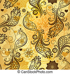 Repeating golden pattern - Gold repeating pattern with...