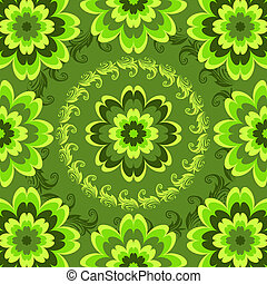 Repeating green floral pattern