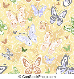 Repeating pastel pattern with colorful butterflies (vector)