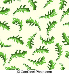 repeating pattern of arugula leaves on a light background