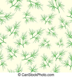repeating pattern of fresh green dill on a light background