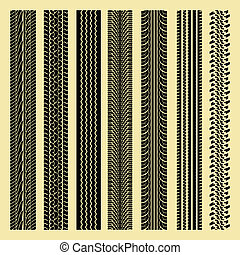 repeating tire track collection - vector illustration